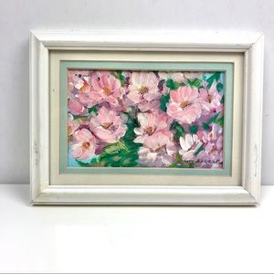 Vintage Pink Flower Painting Granny Chic Country